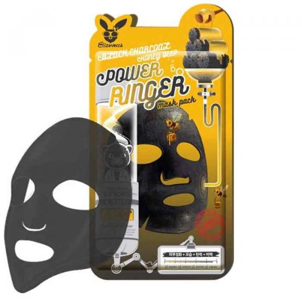 ELIZAVECCA Очищающая тканевая маска для лица с порошком древесного угля