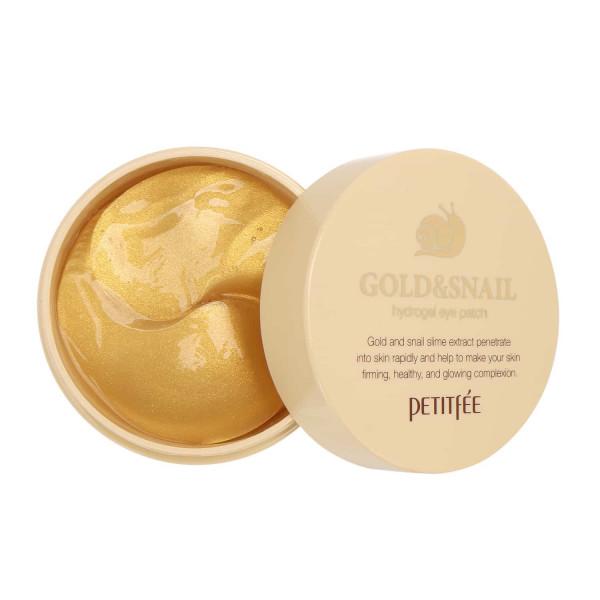 Petitfee Гидро-гелевые патчи для век золото и муцином улитки