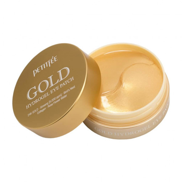 Petitfee Гидро-гелевые патчи для век золото с женьшенем и коллагеном