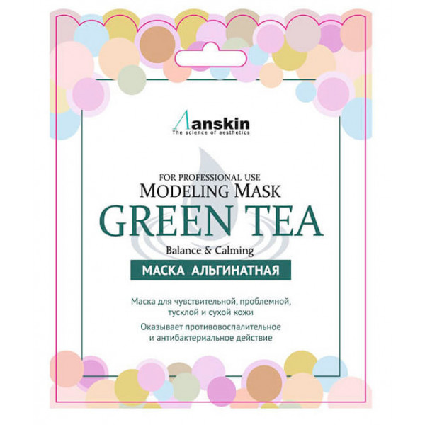 ANSKIN Маска альгинатная с экстрактом зеленого чая успокаивающая (25 гр)